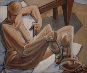 Seated Nude (Acrylic on canvas 50cm x 60cm)
